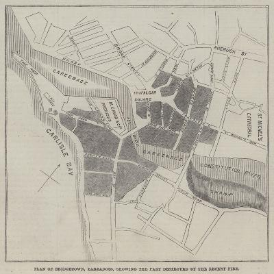 Plan of Bridgetown, Barbadoes, Showing the Part Destroyed by the Recent Fire--Giclee Print