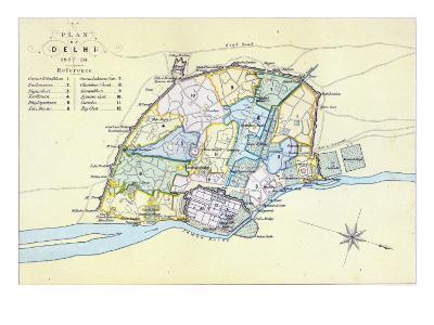 Plan of Delhi 1857-58, engraved by Guyot and Wood, pub. by William Mackenzie, Edinburgh, c.1860--Giclee Print