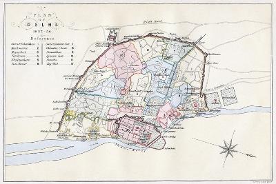Plan of Delhi, India, 1857-1858- Guyoy & Wood-Giclee Print