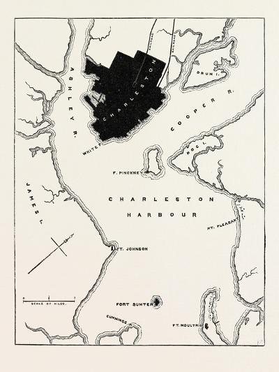 Plan of Forts and Harbour at Charleston, USA, 1870s--Giclee Print