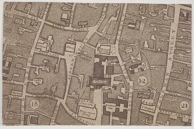 Plan of Guildhall and the Neighbourhood around Guildhall, London, 1747-John Rocque-Giclee Print