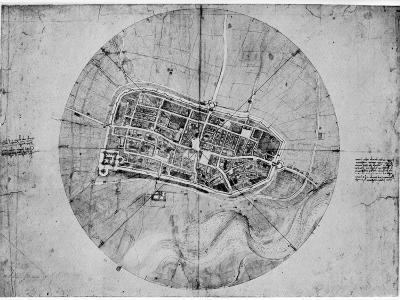 Plan of Imola, Italy, C1502-Leonardo da Vinci-Giclee Print