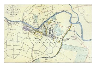 Plan of Lucknow showing Operations in 1857-58, pub. by William Mackenzie, c.1860--Giclee Print