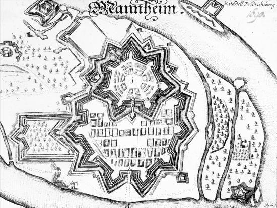 Plan of Mannheim, Germany 1690--Giclee Print