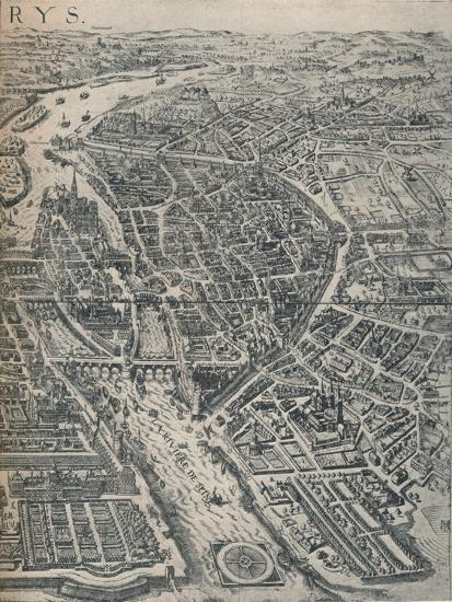 Plan of Paris, c1630 (1915)-Unknown-Giclee Print