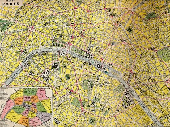 'Plan of Paris - Central District of the City of Light', c1930s-Unknown-Giclee Print