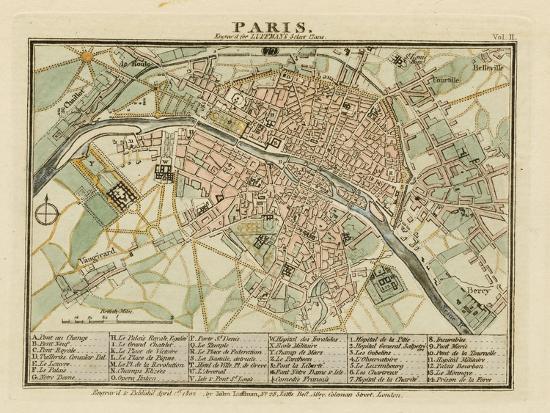 Plan of Paris, France 1802- Luffman-Giclee Print