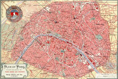 """""""Plan of Paris"""" French Map from the 1800s-Piddix-Art Print"""