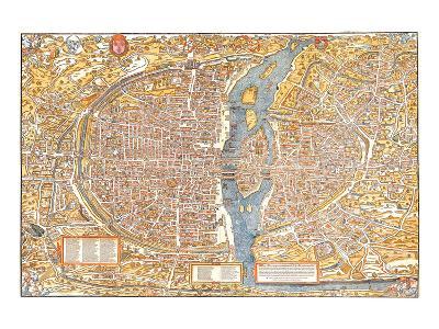 Plan of Paris from 1553-Truschet et Hoyau-Art Print