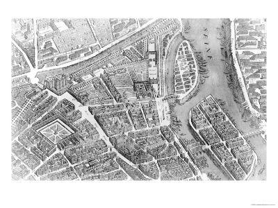 "Plan of Paris, Known as the ""Plan De Turgot,"" Engraved by Claude Lucas, 1734-39-Louis Bretez-Giclee Print"