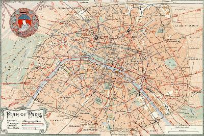"""""""Plan of Paris"""" Travelways French Map from the 1800s-Piddix-Art Print"""