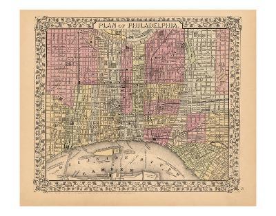Plan of Philadelphia, 1867-Ward Maps-Art Print