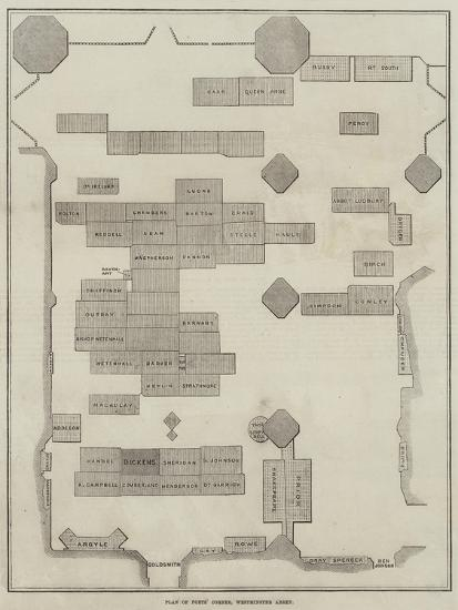 Plan of Poet's Corner, Westminster Abbey--Giclee Print