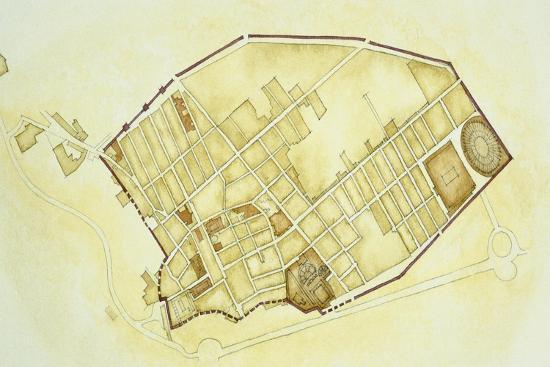 Plan of Pompeii--Giclee Print