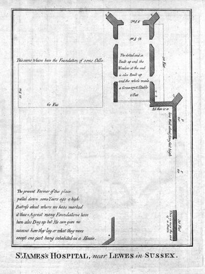 Plan of St James's Hospital near Lewes in Sussex, late 18th-early 19th century-Unknown-Giclee Print