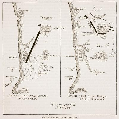 Plan of the Battle of Laswaree--Giclee Print