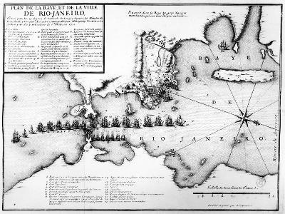 Plan of the Bay and City of Rio De Janeiro and the Disposition of the French and Portuguese Naval…-Antoine Coquart-Giclee Print