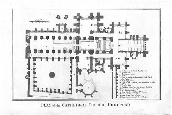 'Plan of the Cathedral Church, Hereford.', late 18th century-Unknown-Giclee Print