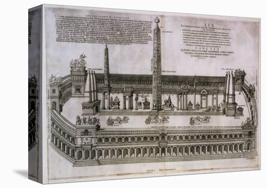Plan of the Circus Maximus Engraving-Nicolas Beautrizet-Stretched Canvas Print