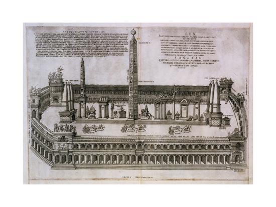 Plan of the Circus Maximus Engraving-Nicolas Beautrizet-Giclee Print