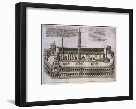 Plan of the Circus Maximus Engraving-Nicolas Beautrizet-Framed Giclee Print