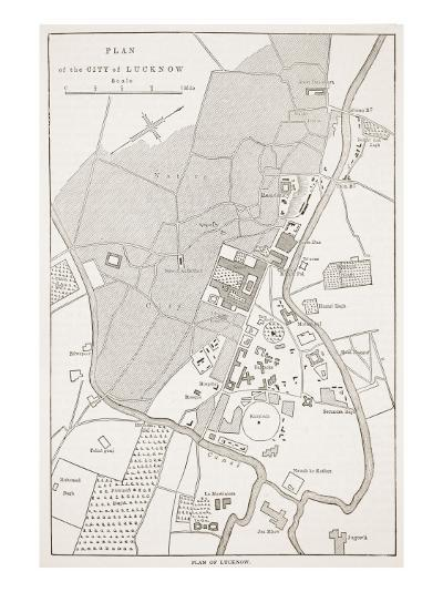 Plan of the City of Lucknow, from 'Cassell's Illustrated History of England'-English School-Giclee Print