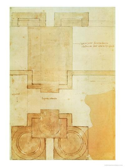 Plan of the Drum of the Cupola of the Church of St. Peter's Basilica-Michelangelo Buonarroti-Giclee Print