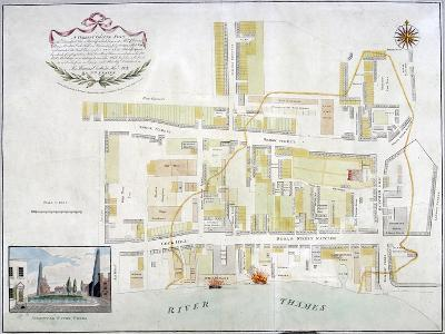 Plan of the Fire That Took Place at Ratcliff in Stepney, London, in 1794--Giclee Print