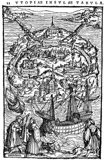 Plan of the Island of Utopia, 1518--Giclee Print