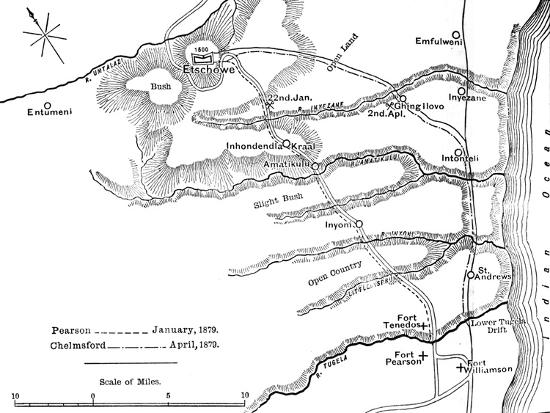 'Plan of the Marches of Pearson (Jan., 1879) and of Chelmsford (April, 1879) to Etschowe', c1880-Unknown-Giclee Print