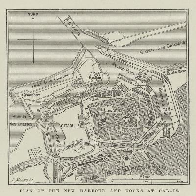 Plan of the New Harbour and Docks at Calais--Giclee Print