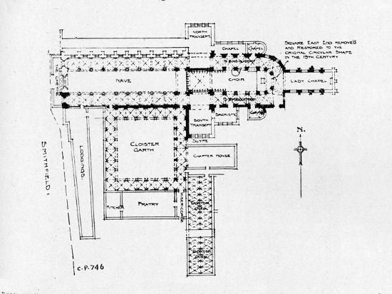 Plan of the Priory Church of St Bartholomew-the-Great, London, 1906-Unknown-Giclee Print