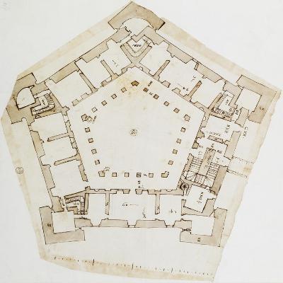 Plan of Villa Farnese in Caprarola, Near Viterbo, Design by Baldassarre Peruzzi--Giclee Print