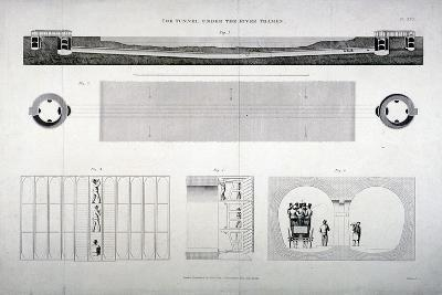 Plan, Sections and Elevations of the Thames Tunnel, London, 1835-E Turrell-Giclee Print