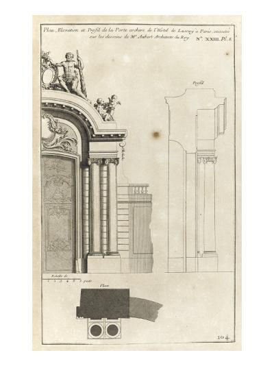 Planche 104 : Plan élévation et profil de la porte cochère de l'Hôtel de Lassay-Jacques-Fran?ois Blondel-Giclee Print