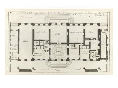 Planche 105 : Plan du rez-de-chaussée de l'Hôtel de Lassay, rue de l'Université à Paris.-Jacques-Fran?ois Blondel-Giclee Print