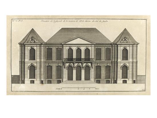 Planche 14 : Elévation de la façade du côté du jardin de l'hôtel de la duchesse du Maine-Jacques-Fran?ois Blondel-Giclee Print