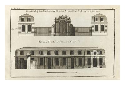 Planche 17 :  Elévation de la façade et du portail et des ailes et pavillons de  la basse-cour-Jacques-Fran?ois Blondel-Giclee Print