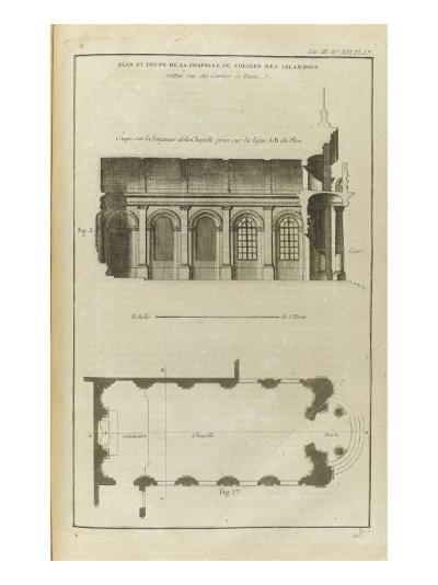Planche 213 : Plan et coupe de la chapelle du collège des Irlandais , rue des Carmes à Paris-Pate-Giclee Print