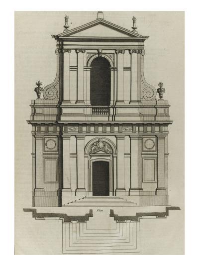 Planche 221 : Elévation du portail de l'église du couvent des Barnabites-Jacques-Fran?ois Blondel-Giclee Print