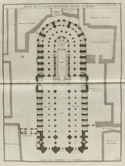 Planche 225 : Plan du rez-de-chaussée de Notre-Dame de Paris-Jacques-Fran?ois Blondel-Giclee Print
