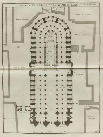 Planche 225 Plan Du Rez De Chaussee De Notre Dame De Paris Giclee Print By Jacques Francois Blondel Art Com