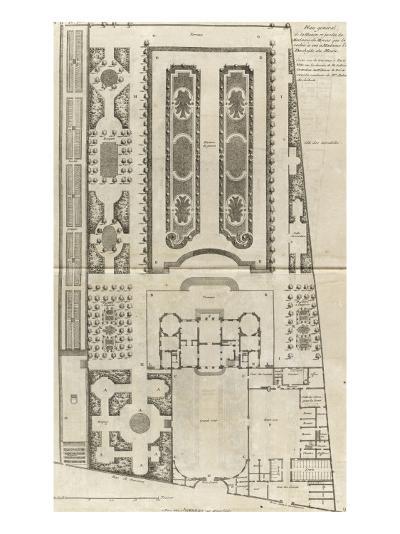Planche 9 : Plan général des bâtiments et  des jardins de l'hôtel de la duchesse du Maine-Jacques-Fran?ois Blondel-Giclee Print