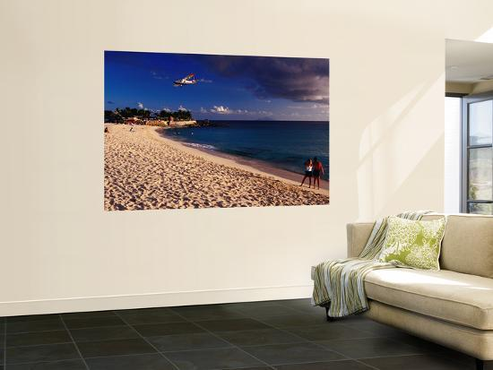 Plane over Maho Beach on Approach to Juliana Airport.-Richard l'Anson-Wall Mural