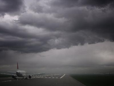 Plane Ready for Take Off and Stormy Skies, Heathrow Airport, London, England, United Kingdom--Photographic Print