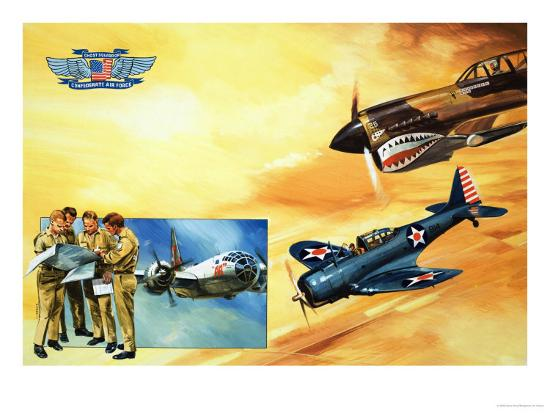 Planes of the Confederate Air Force-Gerry Wood-Giclee Print
