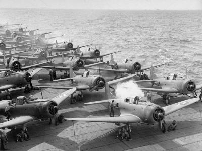 """Planes Starting Motors on Flight Deck of Aircraft Carrier """"Enterprise""""-Peter Stackpole-Photographic Print"""