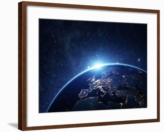 Planet Earth from the Space at Night-Rangizzz-Framed Photographic Print