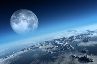 Planet Earth Icy Ocean and Rocky Islands with Moon Seen from Space (Texture Moonmap for 3D Art From-Johan Swanepoel-Art Print