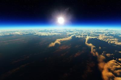 Planet Earth Sunrise over Cloudy Ocean from Outer Space (3D Artwork)-Johan Swanepoel-Art Print